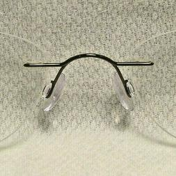 "Silhouette 7395 Pewter 21mm Drill Rimless Eyeglass Frame ""NO"