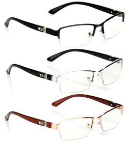 half rim rectangular fashion clear lens frame