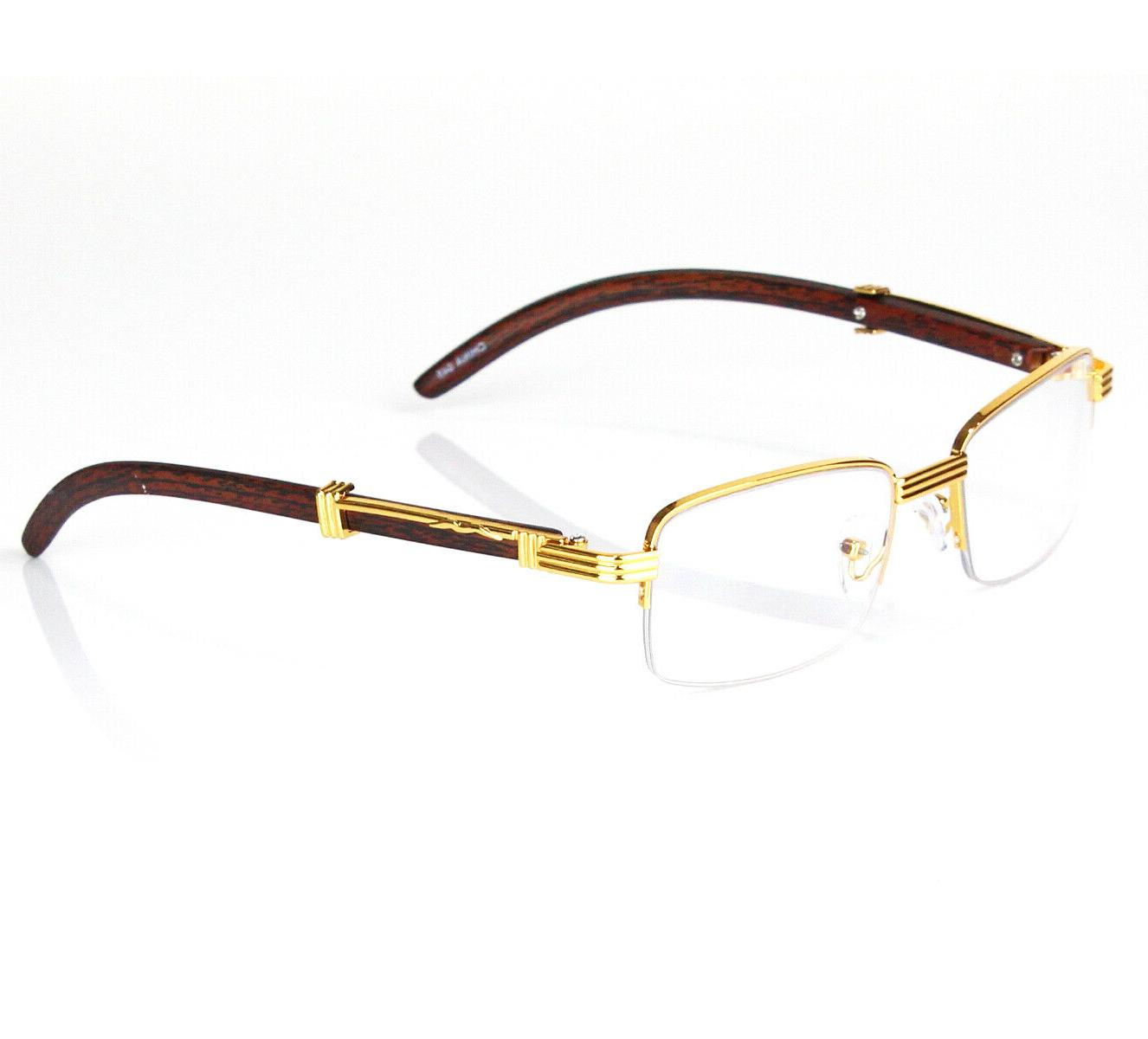 Mens Retro Vintage Clear Lens Gold Fashion Eye Glasses,and S