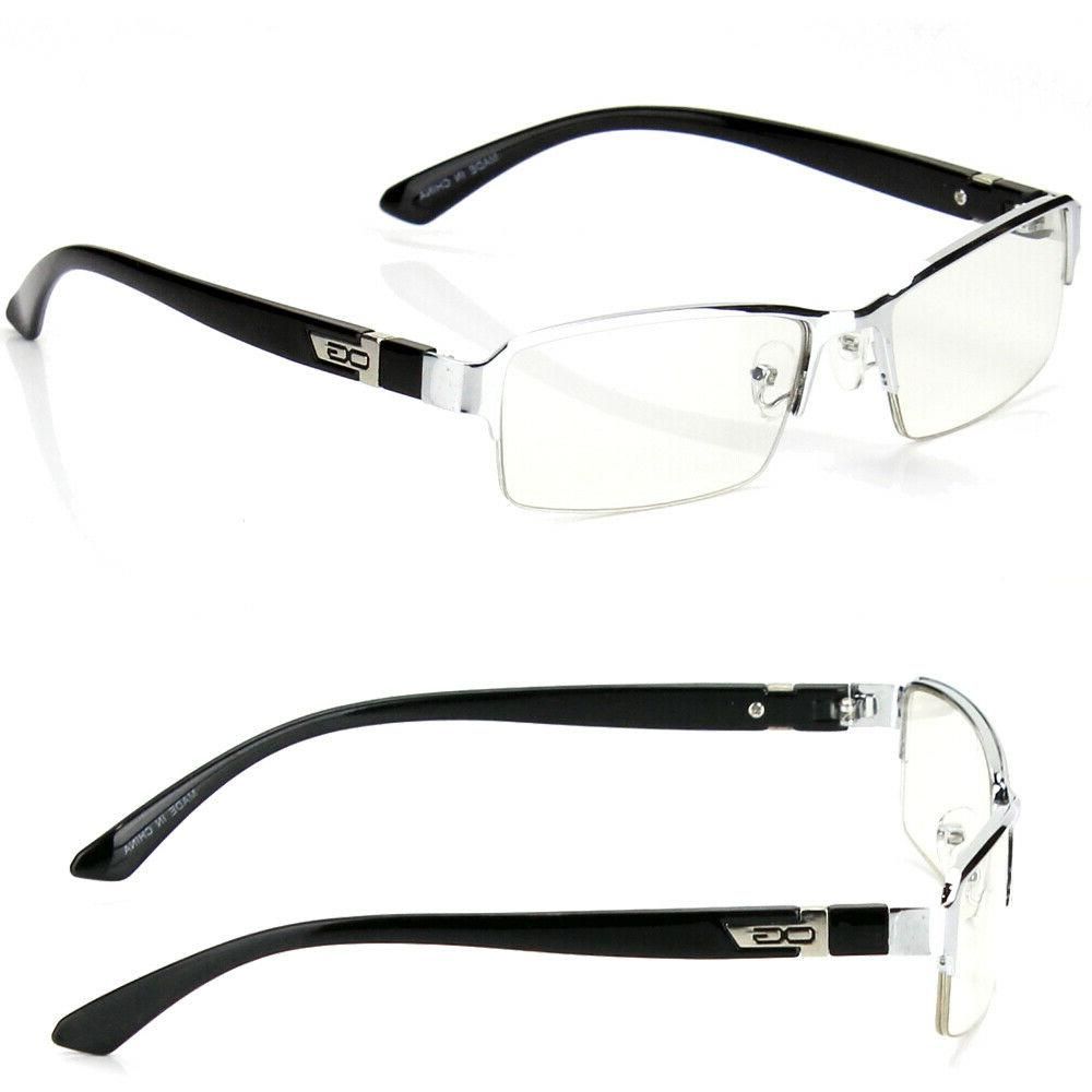 Half Rectangular Clear Frame Eye Glasses Men Women RX
