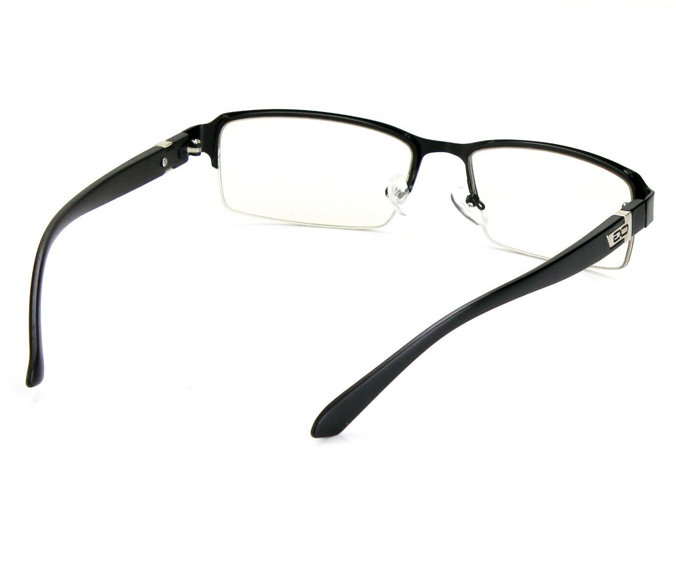 Half Rim Rectangular Clear Frame Glasses RX