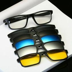 New 5 Magnetic Clip-on Sunglasses with 1 Sport Outdoor Eyegl